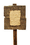 Panneau routier avec la vieille feuille de papier d'isolement Photos stock