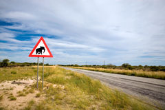 Panneau routier d'éléphants de danger Photographie stock