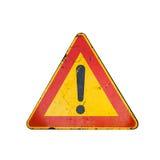 Panneau routier d'avertissement avec la marque d'exclamation d'isolement Photographie stock