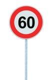Panneau routier d'avertissement de zone de limitation de vitesse, d'isolement 60 kilomètres prohibitifs Photos libres de droits