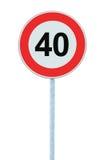 Panneau routier d'avertissement de zone de limitation de vitesse, d'isolement 40 kilomètres prohibitifs de kilomètre de kilomètre Images libres de droits