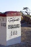 Panneau routier d'Essaouira Photographie stock libre de droits