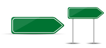 Panneau routier d'isolement sur le trafic blanc de flèche de vert de blanc de fond Illustration de vecteur Photos stock