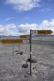 Panneau routier dans le désert des montagnes de l'Islande Images libres de droits