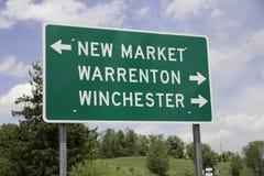 Panneau routier dans Sperryville, la Virginie Images stock