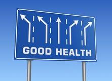 Panneau routier de bonnes santés illustration stock