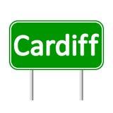 Panneau routier de Cardiff Photos libres de droits