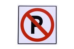 Panneau routier de la forme circulaire sur un fond d'asphalte Aucun stationnement La texture du macadam, vue supérieure Photos stock