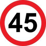 panneau routier de limitation de 45 vitesses Photos libres de droits