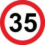 panneau routier de limitation de 35 vitesses Images stock