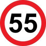 panneau routier de limitation de 55 vitesses Image libre de droits