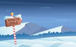 Panneau routier de Pôle Nord Fond de Milou avec la bande dessinée de vecteur de vacances d'hiver du pays des merveilles en bois d illustration stock