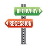 Panneau routier de récession et de relance Photos libres de droits