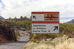 Panneau routier de teide d'EL Image libre de droits