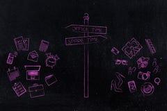 Panneau routier de temps de bureau ou de temps disponible avec le travail et l'objec personnel illustration stock