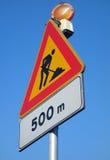Panneau routier de travail en cours Photos libres de droits