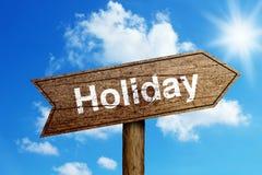 Panneau routier de vacances Images stock