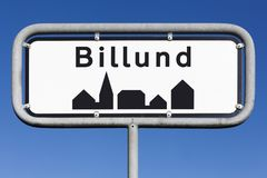 Panneau routier de ville de Billund Photographie stock libre de droits