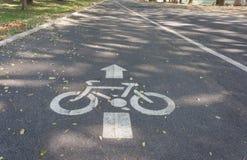 Panneau routier de voie pour bicyclettes Photo stock