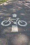 Panneau routier de voie pour bicyclettes Photographie stock