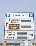 Panneau routier de Weston Super Mare Image libre de droits