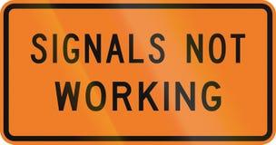 Panneau routier du Nouvelle-Zélande - signaux ne fonctionnant pas illustration libre de droits
