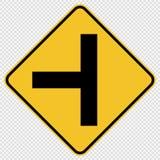 panneau routier du trafic d'intersection en T de symbole sur le fond transparent illustration stock
