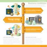 Panneau routier infographic avec différentes entreprises illustration stock