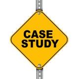 Panneau routier jaune d'étude de cas Image stock