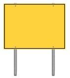 Panneau routier jaune et noir de précaution Photographie stock libre de droits