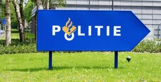 Panneau routier néerlandais de police Image stock