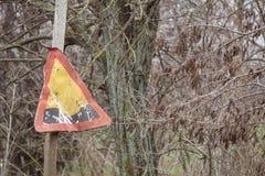 Panneau routier parlant des puits sur les routes photos libres de droits