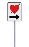 Panneau routier sur l'amour Images libres de droits