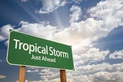 Panneau routier tropical de vert de tempête Photographie stock