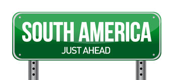 Panneau routier vers l'Amérique du Sud Photo libre de droits
