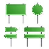Panneau routier vert réglé sur le fond blanc Vecteur illustration stock