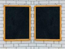 Panneau rustique de menu sur un mur en pierre Photo stock