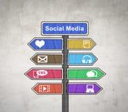 Panneau social de signe de media Image stock