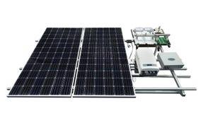 Panneau solaire avec l'équipement d'isolement sur le fond blanc image libre de droits