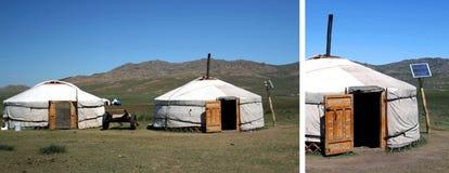 Panneau solaire dans le désert de gobi Image stock