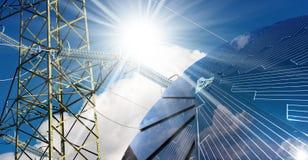 Panneau solaire - rayons de ligne électrique et de Sun Images stock