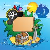 Panneau sur l'île de pirate avec le bateau Photographie stock libre de droits
