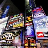 Panneaux d'affichage de publicité de Times Square Images stock