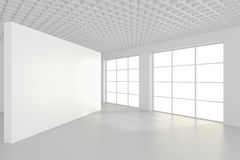 Panneaux d'affichage vides intérieurs se tenant sur le plancher dans la chambre blanche rendu 3d Images stock