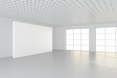 Panneaux d'affichage vides intérieurs se tenant sur le plancher dans la chambre blanche rendu 3d Photographie stock