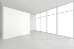 Panneaux d'affichage vides intérieurs se tenant sur le plancher dans la chambre blanche rendu 3d Image stock