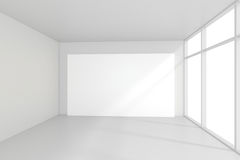 Panneaux d'affichage vides intérieurs se tenant sur le plancher dans la chambre blanche rendu 3d Images libres de droits
