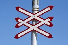 Panneaux d'avertissement de croisement de train photo stock