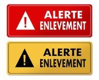 Panneaux d'avertissement vigilants d'abduction dans la traduction française Images libres de droits