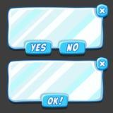 Panneaux d'interface de menu de glace de jeu Images stock